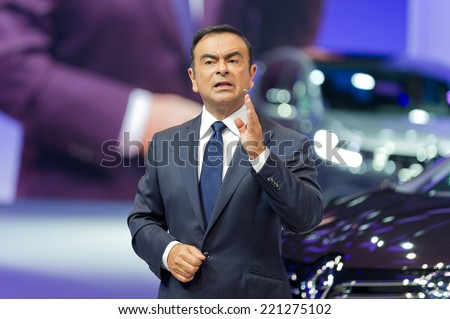 PARIS, FRANCE - OCTOBER 2, 2014 : CEO Renault Nissan Carlos Ghosn in press conference for the new Renault Espace at the the Paris motor show - stock photo