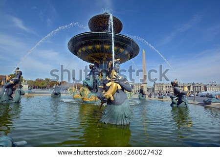 PARIS FRANCE OCTOBER 17: Fountain of River Commerce and Navigation (1840) on the Place de la Concorde. Paris, France on October 17, 2014 in Paris, France.  - stock photo