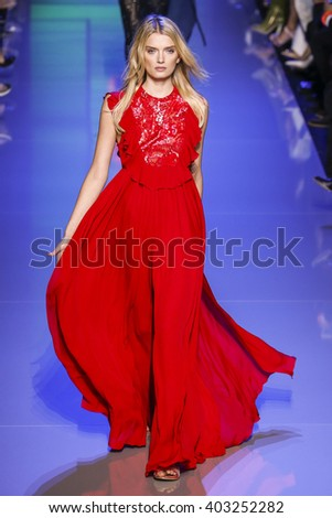 PARIS, FRANCE - OCTOBER 03: Lily Donaldson walks the runway during the Elie Saab show as part of the Paris Fashion Week Womenswear Spring/Summer 2016 on October 3, 2015 in Paris, France.  - stock photo