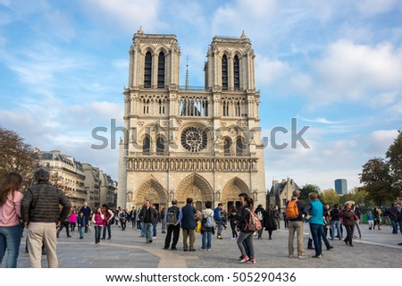 "PARIS, FRANCE - OCTOBER 11, 2015: Notre-Dame de Paris (French for ""Our Lady of Paris"") is a medieval Catholic cathedral on the Cite Island in Paris, France"