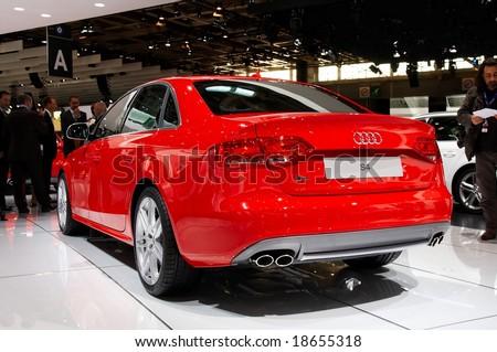 PARIS, FRANCE - OCTOBER 02: Paris Motor Show on October 02, 2008, showing Audi S4, rear view - stock photo