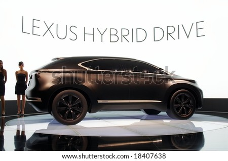 PARIS, FRANCE - OCTOBER 02: Paris Motor Show on October 02, 2008, showing Lexus LF-Xh Concept, side view - stock photo