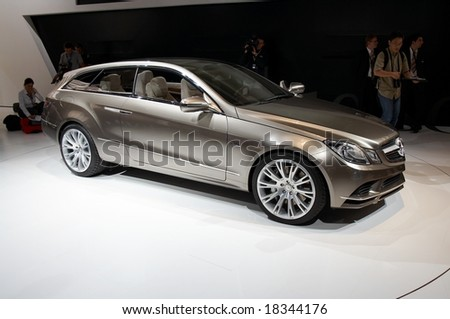 PARIS, FRANCE - OCTOBER 02: Paris Motor Show  on October 02, 2008, showing Mercedes-Benz Fascination Concept, side view. - stock photo