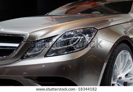 PARIS, FRANCE - OCTOBER 02: Paris Motor Show  on October 02, 2008, showing Mercedes-Benz Fascination Concept, front light detail. - stock photo