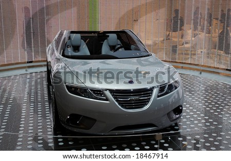 PARIS, FRANCE - OCTOBER 02: Paris Motor Show on October 02, 2008, showing Saab 9-X Air Concept, front view - stock photo