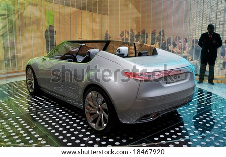 PARIS, FRANCE - OCTOBER 02: Paris Motor Show on October 02, 2008, showing Saab 9-X Air Concept, rear view - stock photo