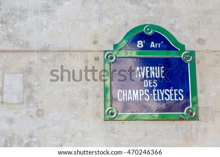 Paris, France - October 1st. 2014 - Champs-Elysees sign on the famous avenue of Paris, Paris, France, Europe