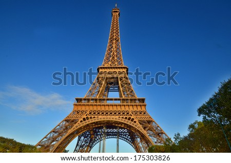 PARIS, FRANCE OCTOBER 12: the Eiffel Tower (Tour Eiffel) on october 12, 2013 in Paris, France. It was built between 1887 and 1889 for the World's Fair (Expo 1889)