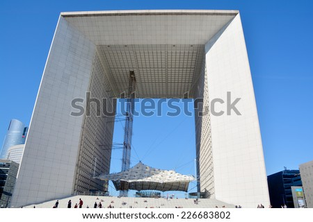 PARIS FRANCE OCTOBER 19: The Grande Arche in the La Defence business district of Paris. on october 19 2014, France.