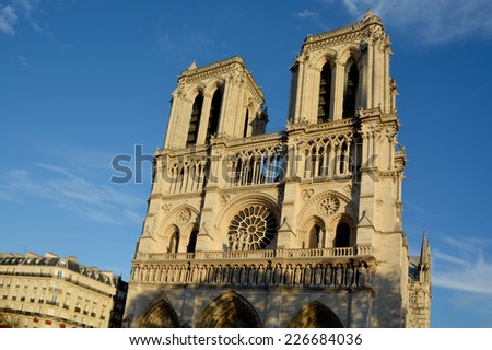 PARIS, FRANCE - OCTOBER 12: The Notre Dame cathedral of Paris, France, on october 12, 2013, one of the most famous landmarks in Paris. In 2014, the cathedral celebrate its 850 years anniversary.