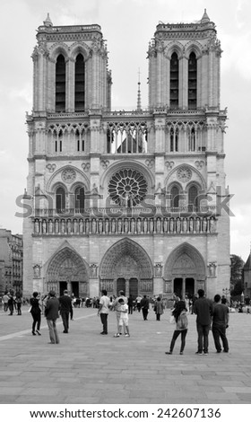 PARIS, FRANCE - OCTOBER 12: The Notre Dame cathedral of Paris, France, on October 12, 2014, one of the most famous landmarks in Paris. In 2013, the cathedral celebrate its 850 years  - stock photo