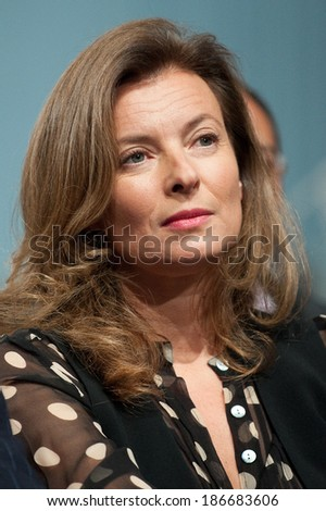 PARIS, FRANCE - OCTOBER 22, 2011 : Valerie Trierweiler during Francois Hollande nomination for the French presidential election of 2012 at la Halle Freyssinet in Paris