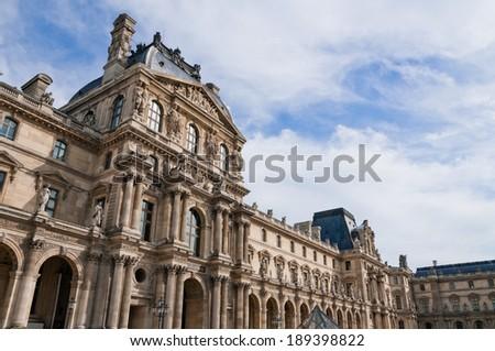 PARIS, FRANCE- OKT 03 2010: Louvre Museum in Paris. The Louvre Museum is one of the largest museums of the world  - stock photo
