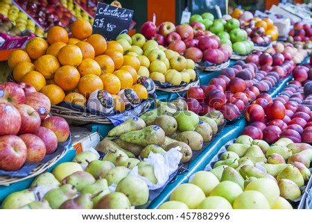 PARIS, FRANCE, on JULY 6, 2016. A street show-window with vegetables and fruit of typical Parisian shop