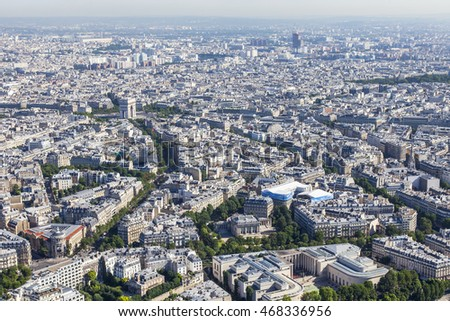 PARIS, FRANCE, on JULY 7, 2016. A view of the city from above from the survey platform of the Eiffel Tower.