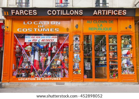 PARIS, FRANCE, on JULY 12, 2016. Show-window of shop of carnival costumes
