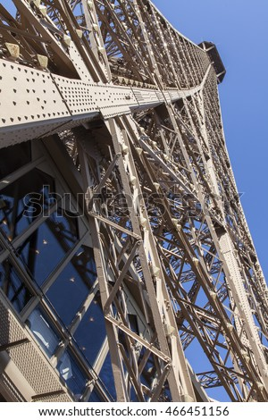 PARIS, FRANCE, on JULY 7, 2016. The Eiffel Tower - one of the main sights, a city symbol. Fragment.