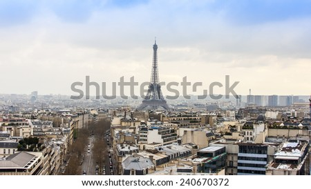 Paris, France, on March 27, 2011. A city landscape with the Eiffel Tower. View from the Triumphal Arch. The Eiffel Tower - one of the most recognizable sights of Paris