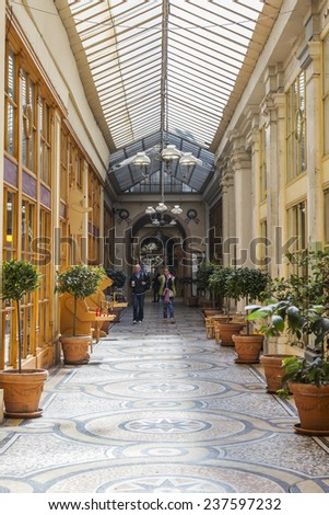 Paris, France, on May 4, 2013. Parisian Passage, typical look. Cafe in a passage - stock photo
