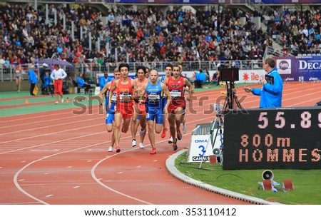 PARIS, FRANCE - SEP.13: Athletes on the 800 meters race on DecaNation International Outdoor Games on September 13, 2015 in Paris, France.