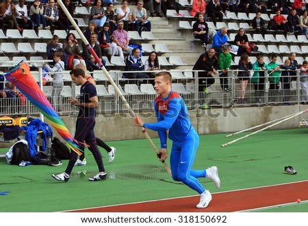 PARIS, FRANCE - SEP.13: Georgiy Gorokhov on DecaNation International Outdoor Games on September 13, 2015 in Paris, France.( born 20 April 1993) is a Russian athlete specialising in the pole vault - stock photo