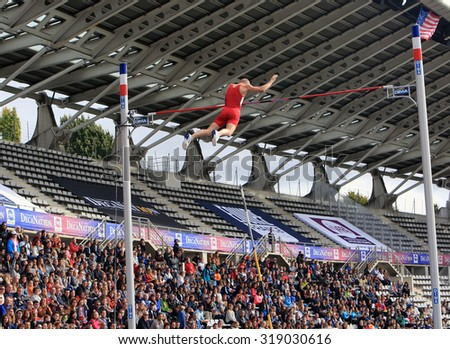 PARIS, FRANCE - SEP.13:Sam Kendricks win pole vault on DecaNation International Outdoor Games on September 13, 2015 in Paris, France. Sam Kendricks Is an athlete US, specialist in pole vaulting - stock photo