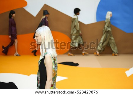 PARIS, FRANCE - SEPTEMBER 27: A model walks the runway during the Aalto designed by Tuomas Merikoski show as part of the PFW Womenswear SS 2017 on September 27, 2016 in Paris, France