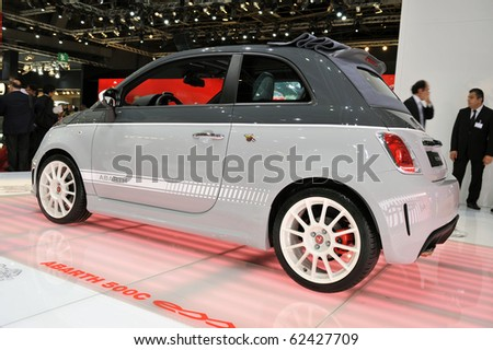 PARIS, FRANCE - SEPTEMBER 30: Abarth 500 at Paris Motor Show on September 30, 2010, at the Paris Expo-Porte de Versailles