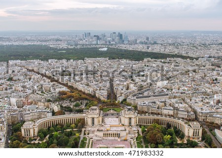 PARIS, FRANCE, SEPTEMBER: Aerial View on Paris from the Eiffel tower.