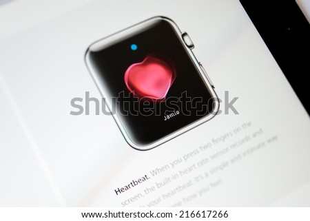 PARIS, FRANCE - September 10, 2014: Apple Computers website close up details seen on iPad with the newly launched Apple Watch Standard wearable technologies as seen on 10 September, 2014 - stock photo