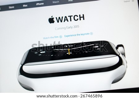 PARIS, FRANCE - September 10, 2014: Apple Computers website close up details seen on iPad with the newly launched Apple Watch featuring the basic version of the wath. Tilt-shift lens used - stock photo
