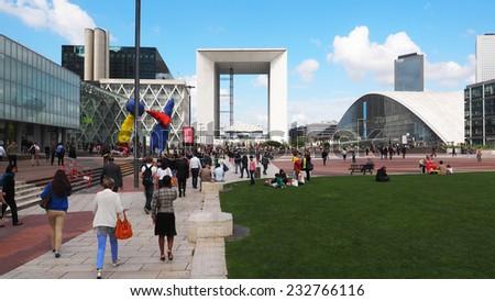 PARIS, FRANCE - SEPTEMBER, 1, 2014. Corporate office buildings in the business park of La Defense in Paris.  - stock photo