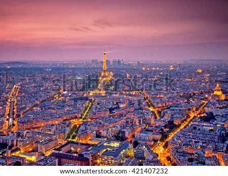 PARIS, FRANCE - SEPTEMBER 10: Eiffel Tower on September 8, 2014 in Paris. It was erected in 1889 and has become both a global cultural icon of France and the world. - stock photo