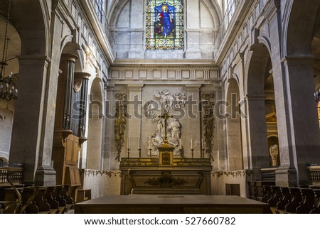 PARIS, FRANCE, SEPTEMBER 14, 2016 : interiors and architectural details of Sainte Marguerite church, september 14, 2016, in Paris, France