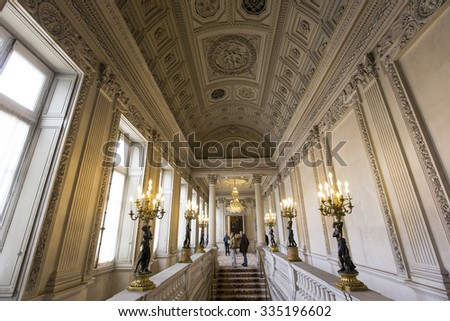 PARIS, FRANCE, SEPTEMBER 19, 2015 : Interiors and architectural details of the embassy of Poland, hotel de Monaco, september 19, 2015, in Paris, France.
