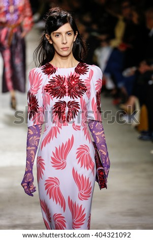 PARIS, FRANCE - SEPTEMBER 30: Jamie Bochert walks the runway during the Dries Van Noten show as part of the Paris Fashion Week Womenswear Spring/Summer 2016 on September 30, 2015 in Paris, France.  - stock photo