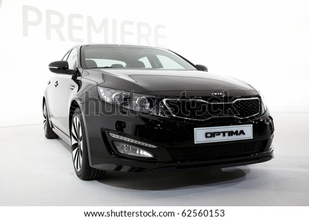 PARIS, FRANCE - SEPTEMBER 30:Kia Optima at Paris Motor Show on September 30, 2010 in Paris - stock photo