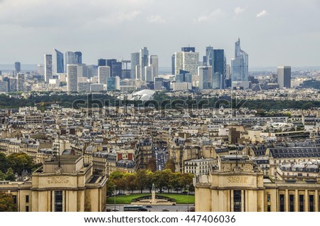 Paris, France-September 22, La Defense business district in Paris at day, France, Old and new city in one landscape in September 22.2015 in Paris