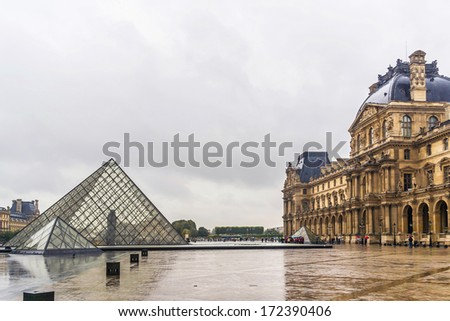 PARIS, FRANCE - SEPTEMBER 14, 2013: Louvre building after rain. With 8.8 million annual visitors, Louvre is consistently the most visited museum worldwide. Picturesque reflection.