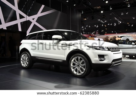 PARIS, FRANCE - SEPTEMBER 30: Paris Motor Show on September 30, 2010, at the Paris Expo-Porte de Versailles, debut showing of the Range Rover Evoque