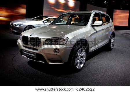 PARIS, FRANCE - SEPTEMBER 30: Paris Motor Show on September 30, 2010 in Paris, BMW X3, front view - stock photo