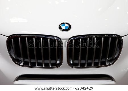 PARIS, FRANCE - SEPTEMBER 30: Paris Motor Show on September 30, 2010 in Paris, showing BMW X3, front grille detail view - stock photo