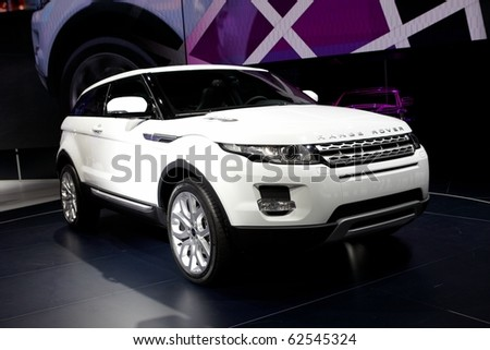 PARIS, FRANCE - SEPTEMBER 30: Paris Motor Show on September 30, 2010 in Paris, showing Range Rover Evoque, front view - stock photo