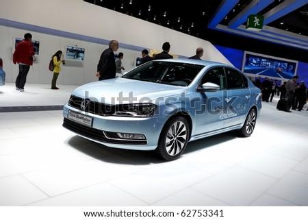PARIS, FRANCE - SEPTEMBER 30: Paris Motor Show on September 30, 2010 in Paris, showing Volkswagen Passat Bluemotion, front view - stock photo