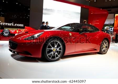 PARIS, FRANCE - SEPTEMBER 30: Paris Motor Show on September 30, 2010, showing Ferrari California, side view in Paris. - stock photo