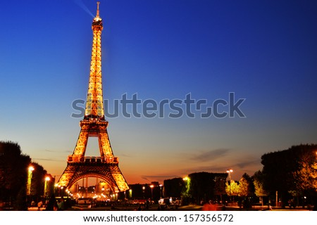 PARIS, FRANCE - SEPTEMBER 24: The Eiffel Tower in Paris, France on September 21, 2013, the most-visited paid monument in the world - stock photo