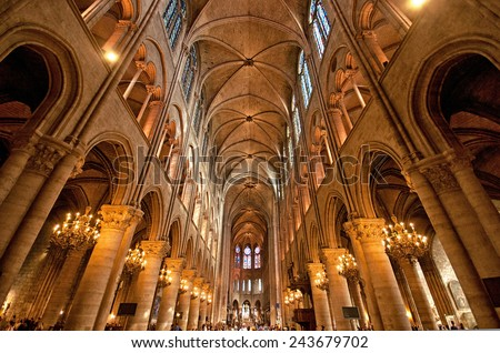 PARIS, FRANCE - 8 SEPTEMBER, 2014: The famous Notre Dame de Paris on september 8, 2014 in Paris. The cathedral of Notre Dame is one of the top tourist destinations in Paris.