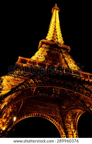 PARIS, FRANCE - 14 SEPTEMBER: Tower Eiffel at night, is an iron lattice tower named after the engineer Alexandre Gustave Eiffel, built in 1889  in PARIS, FRANCE on SEPTEMBER 14, 2011