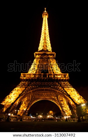 Paris, France - September 05, 2011 : View of Eiffel Tower during the light show at dawn