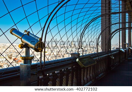 Paris,  France - September 28, 2011: View on the city from the lookout of the Eiffel tower.